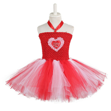 Red White Queen of Hearts Fancy Dress Costume Valentine's Day Knee Length Heart Pattern Tutu Dress Princess Dress for Girls 1-14 knee length print day dress