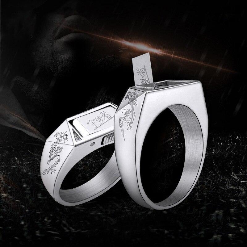Nouveau dragon et phoenix Angle chanceux titane acier auto-défense anneau bijoux main tatouage mode cadeaux créatifs