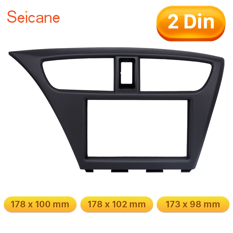 Seicane 2Din Car Radio Fascia Fit Frame Trim Bezel Panel Adaptor Refit Installation Fit Kit For 2012 Honda Civic European LHD