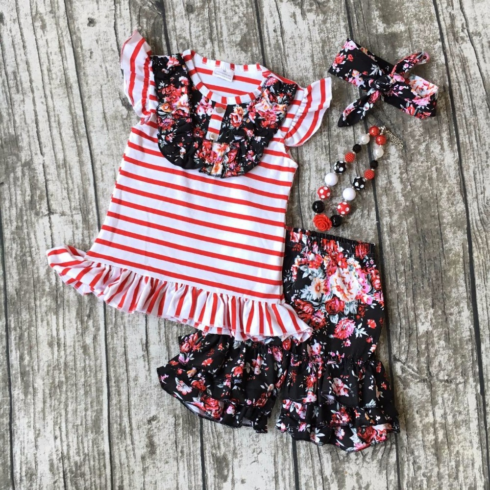 summer girls boutique clothes  red floral striped shorts cotton ruffles outfits  with matching accessories necklace and bow set 2016 summer baby child girls outfits ruffles shorts white striped watermelon boutique ruffles clothes kids matching headband set