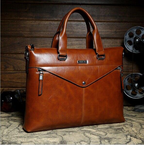998515ba54 Luxury Famous Brand High Quality PU Leather Business men briefcase Vintage  handbags Durable shoulder bags Top