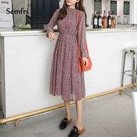 Semfri Floral Print Pleated Chiffon Dress Shirt Woman Autumn Dress Long Sleeve A line Elegant Dresses with Belt Elastic Slim
