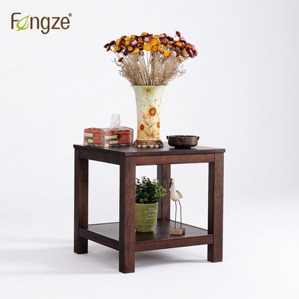 FengZe furnishing FZ511 wooden nightstand living room tea table country style bedroom mini storage small bedside cabinet in oak zen s bamboo nightstand miti function storage drawer cabinet bed side table living bedroom funiture
