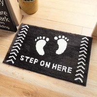 Soft Fluffy Black And White Kitty Hello Design Bathroom Carpet Anti Slip Bath Mat Doormat Balcony