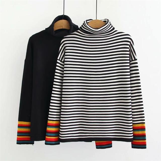 dcb764fd3a Plus size black   white striped autumn winter women pullovers 2018  Turtleneck Knitted casual ladies oversize sweater wool female