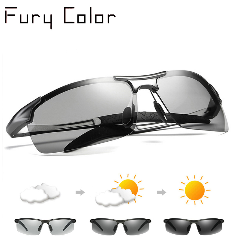 Aluminium Magnesium men women Photochromic lenses Discoloration sunglasses fishing driving Polarized sun glasses Men daylight