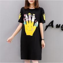 2018 летняя Южнокорейская версия новинка футболка с короткими рукавами платье свободные жира сестра средней длины top Большие размеры женская мы