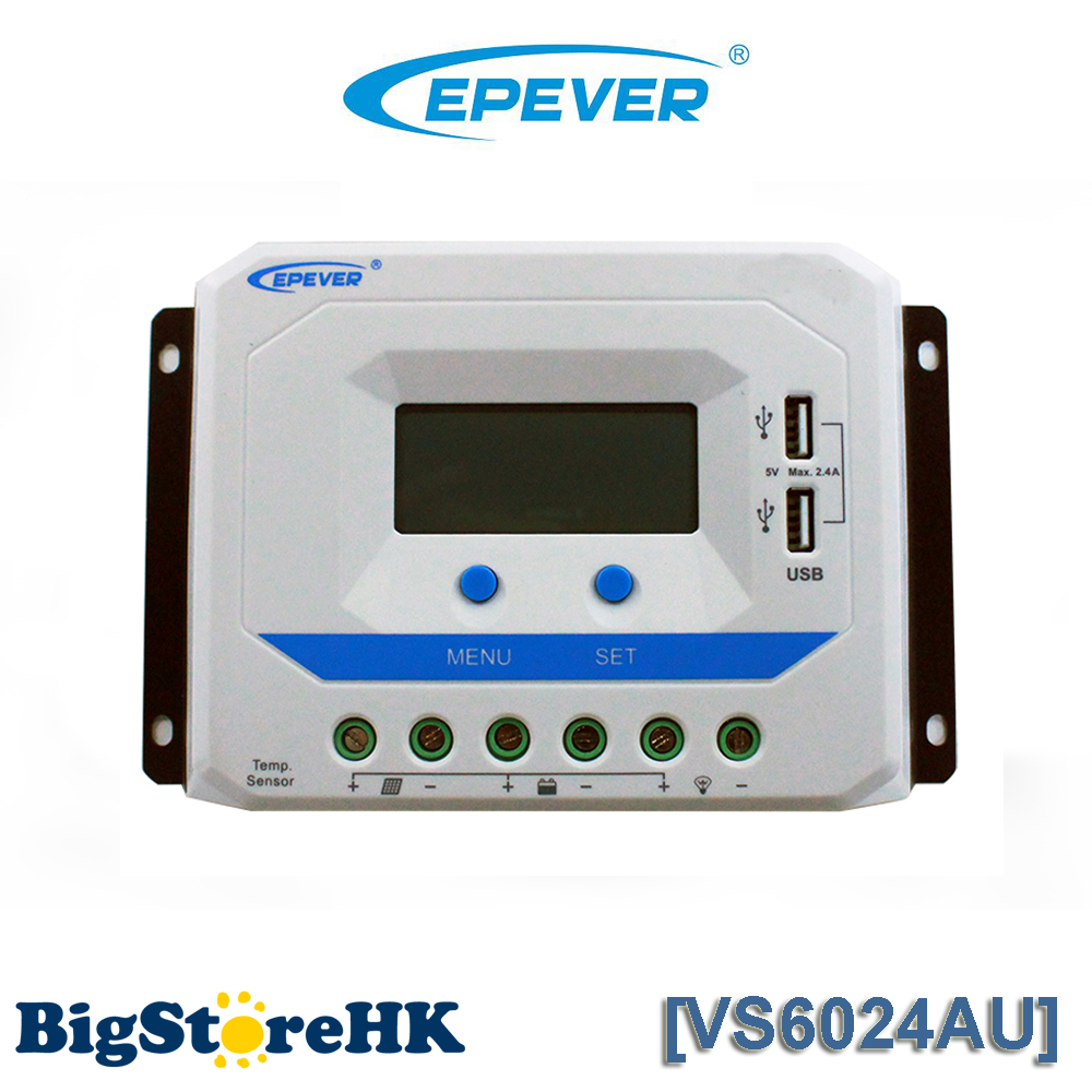 EPever VS6024AU 60A Solar Charge Controller PWM 12V 24V DC Auto with Informative Black Light LCD display Double 5V USB EPsolar