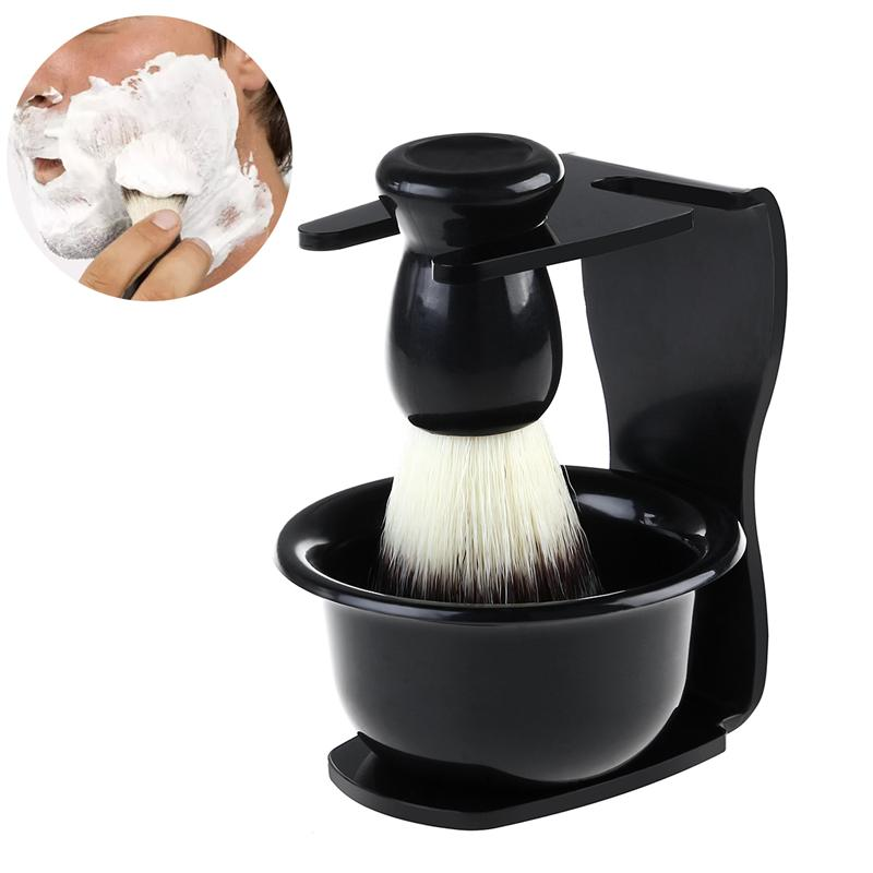 3 In 1 <font><b>Shaving</b></font> Brush <font><b>Kit</b></font> <font><b>Shaving</b></font> Soap Bowl +Brush+ Shaver Stand Bristle Hair Remover Brush Men <font><b>Beard</b></font> Cleaning <font><b>Tool</b></font> Gift