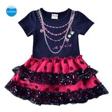 JUXINSU Kids Toddler Girls Summer Cotton printing Short Sleeve Tutu Dresses for Baby Girl Clohting 1-6 Years