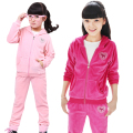 Autumn Girls Sports Suit Velet Children Clothing Sets Baby Kids Sportswear Big Child Hoodies Jacket & Pants Twinset 4-12 Years