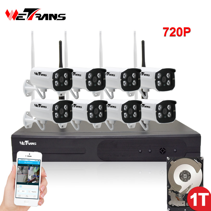 CCTV System Wifi Camera 8CH NVR Kit 720P HD Plug Play Waterproof Night Vision Outdoor Wireless Home Video Surveillance System plug and play 8ch wireless nvr h 264 video surveillance kit 720p hd outdoor vandal proof ir dome wifi cctv camera system 2tb hdd