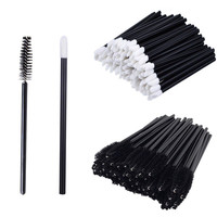 50Pcs Disposable Mascara Wand Brush Lip Brush Doe Foot Lint Free Applicator Lip Gloss Wand For Eyelash Extension Application