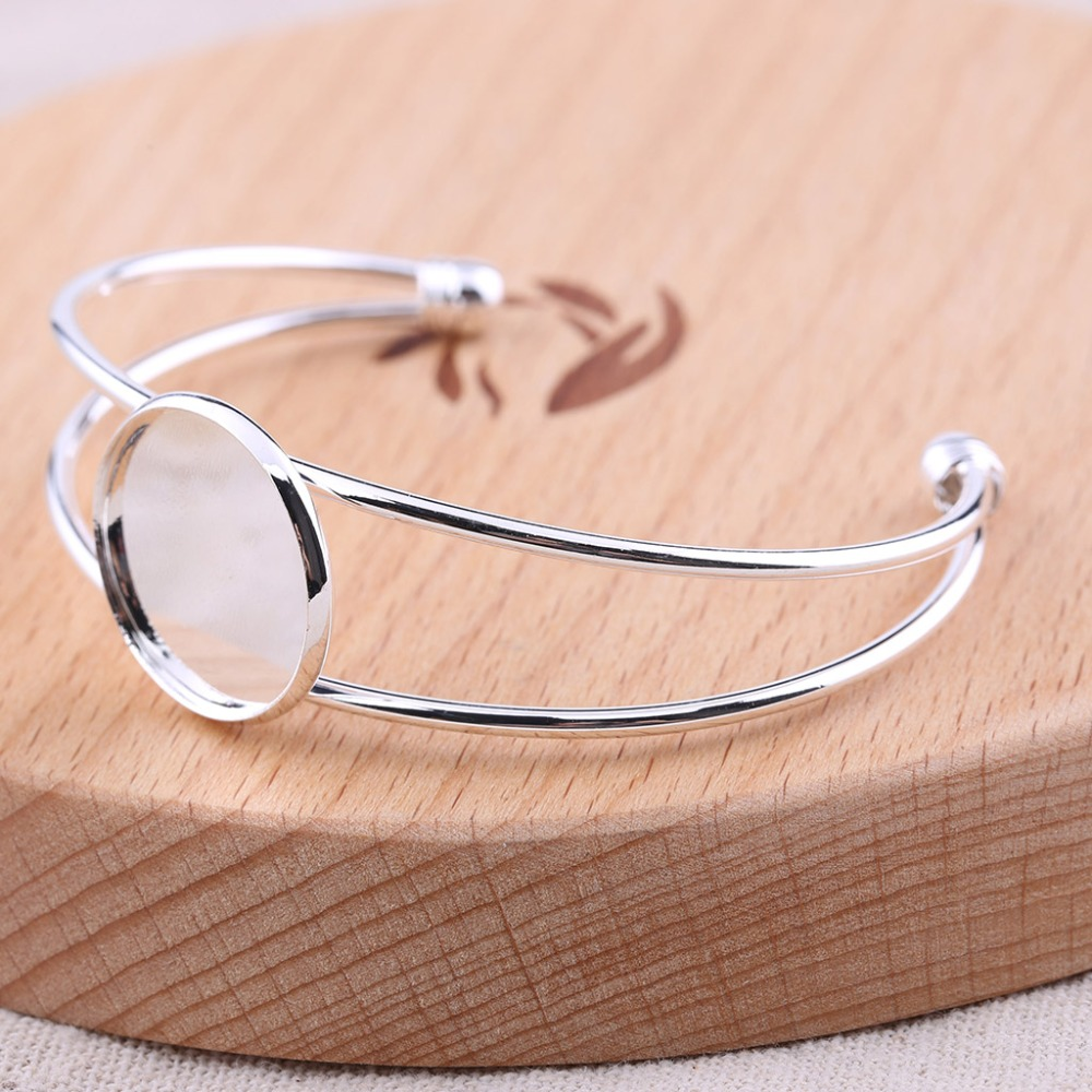 reidgaller 5pcs silver plated cuff bracelet cabochon base settings diy blank bangle bezel trays for jewelry making
