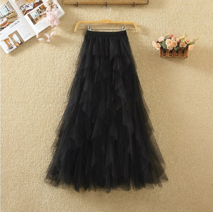 Women irregular Tulle Skirts Fashion Elastic High Waist Mesh Tutu Skirt Pleated Long Skirts Midi Skirt Saias Faldas Jupe Femmle 53