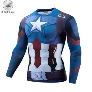 Captain American 3D Printed T shirts Men Avengers 4 Endgame Compression Shirt Cosplay Costume Long Sleeve Tops For Male Cloth