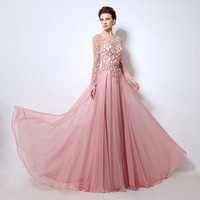 Arrival Boat Neck robe de soiree Luxury Beading Appliques Sequined Long Sleeves Evening Dresses Pink Chiffon W 13