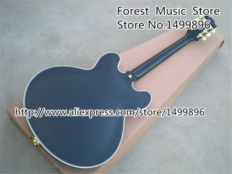 Musical Instrument Black Chinese ES Electric Acoustic Guitar Hollow Body Golden Bigsby Jazz Guitarra Kit Custom Available