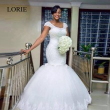 Luxury African White Wedding Dresses Mermaid Plus Size Bridal Gowns 2017 Robe De Mariage Vintage Lace Cap Short Sleeves