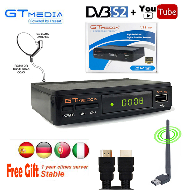Cline for 1 year Tuner DVB-S2 free satellite tv decoder 1080P Gtmedia V7S  Receiver WiFi Antenna Youtube Tv Box Powervu Biss PVR