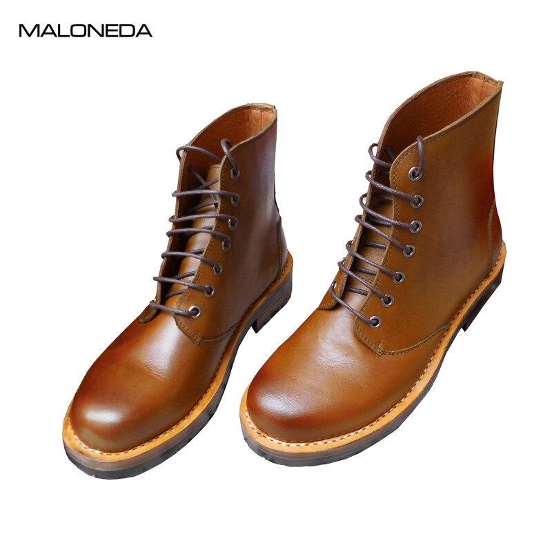 MALONEDA/брендовые высококачественные удобные ботильоны ручной работы из натуральной кожи в стиле ретро с круглым носком, хорошо Окаймленный
