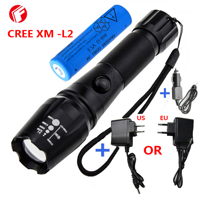 LED Rechargeable Flashlight CREE XM - L2 light 3800 lumens 18650 battery Outdoor camping Cycling Powerful led flashlight flashlight led cree xm l2 light 3800 lumens 26650 battery outdoor camping telescopic zoom self defense powerful led flashlight
