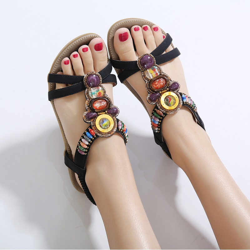 Summer Women Sandals Bohemia Gladiator Sandals Women Flat Shoes Plus Size Ladies Shoes Fashion Beach Sandals Female Shoes BT537 timetang flat sandals t strap fashion trend sandals bohemia national flat heel beaded female shoes sale women shoes