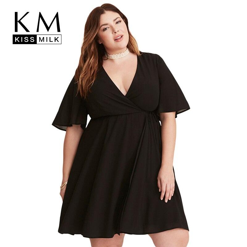 Kissmilk Plus La Taille 2018 Nouvelles Femmes De Mode Genou-Longueur Empire Casual Robe Féminine A-ligne V-cou Robes D'été 3XL ~ 7XL