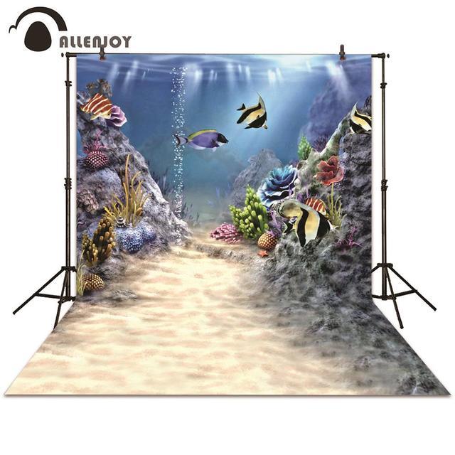 Allenjoy photography backdrop Marine life window sea seabed fish coral sunshine background photocall photographic photo studio