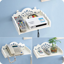 DIY carved woden HDF STB Remote Control holder TV Set-top decorative wall shelf mobile phone storage rack organizer home deocr