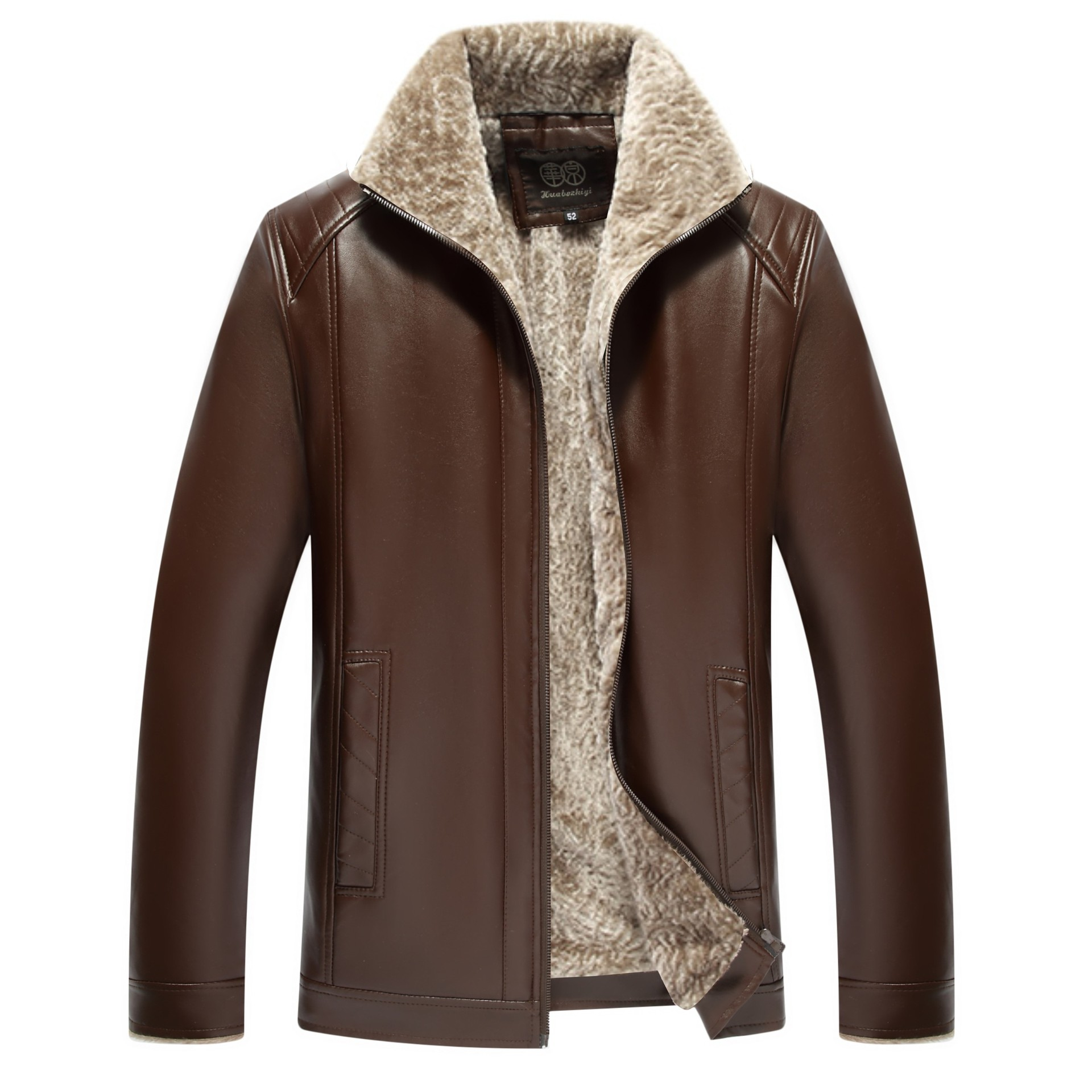 Men Leather Jackets Winter Male PU Coats Flocking Fur Coat Boy Winter Outerwear 50 52 54 56 58 60
