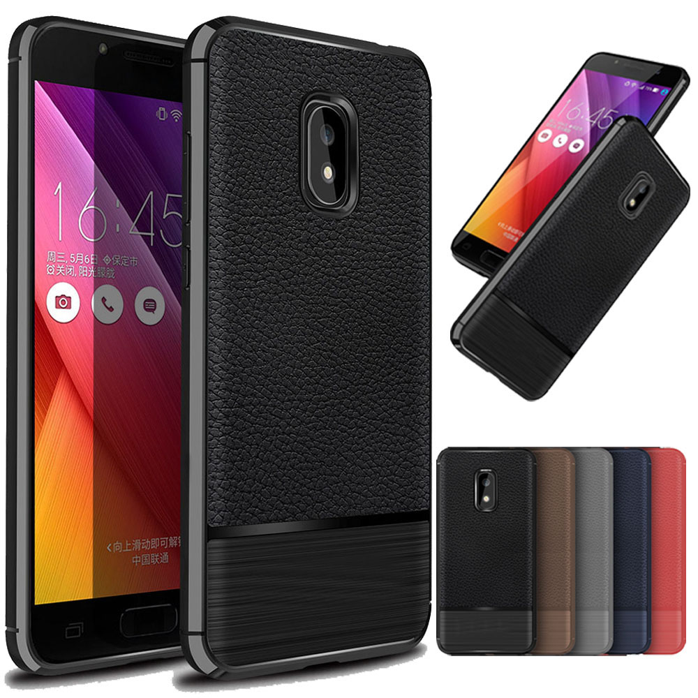Luxury Lychee Leather Soft Rubber Silicone Case Slim Shock Absorption Hybrid Armor Cover For ASUS Zenfone V Live V500KL 5.0 @