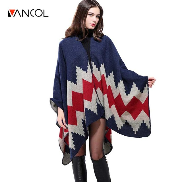 20 Colors 2016 Plus Size Geometric Printed Winter Ethnic Style Cashmere Poncho hijab shawl Cape Scarf Women ponchos de inverno