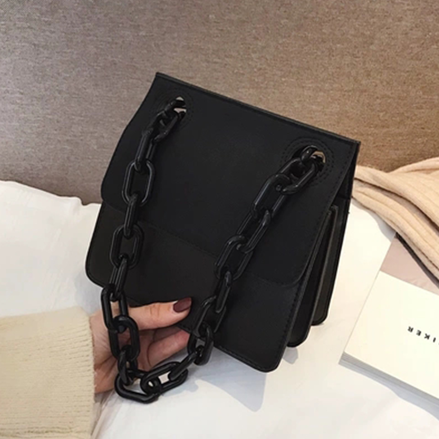 Image 5 - Casual Acrylic Chains Lattice Shoulder Bag Women Handbags Crossbody Bags Lady Brands Small PU Leather Flap Bolsa Messenger Bags-in Shoulder Bags from Luggage & Bags