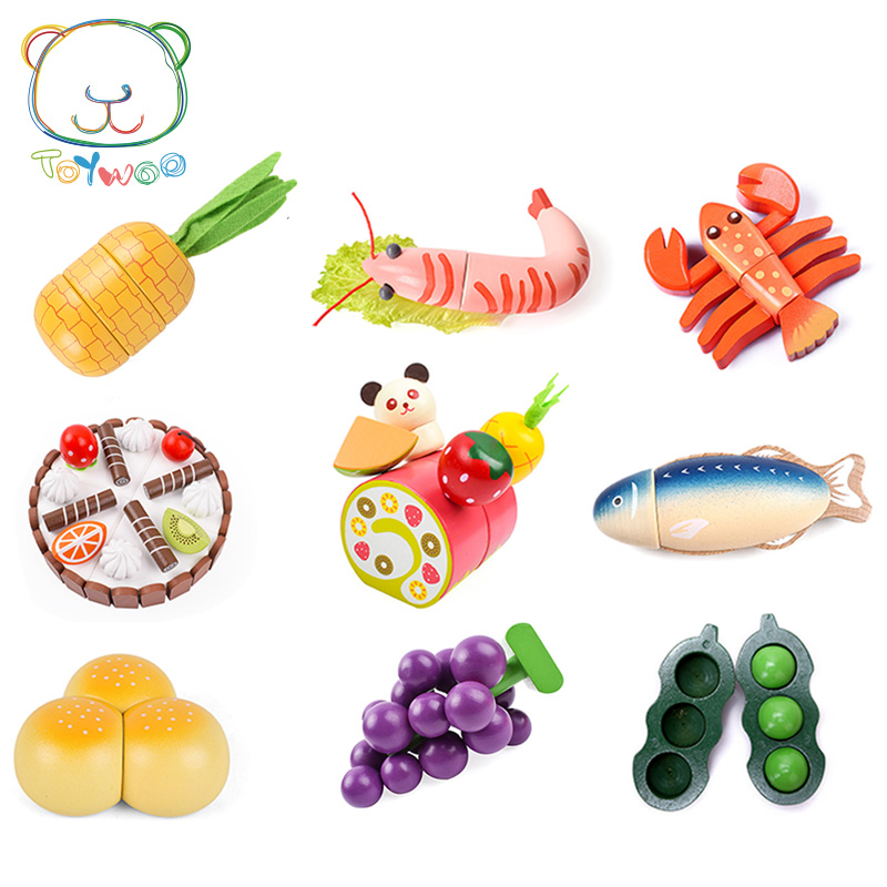 [Toy Woo] Wooden Kids Toys Simulation Fruits And Vegetables Kitchen Toys For Children Education Baby Boy Girl Wooden Toys Gifts