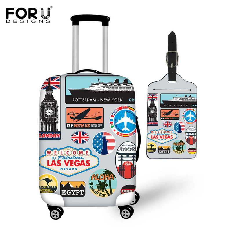 FORUDESIGNS Vintage Travel Sticker Print  Luggage Protective Covers Elastic Travel Accessories Trolley Case Cover With Zipper