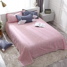 Bedding Set Leaf Pattern Nordic Bedspread Pink Bed Flat Sheet Pillowcase Duvet Cover Set Bed 45(China)