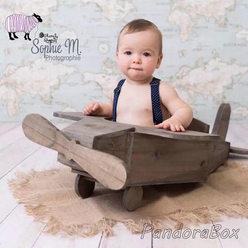 Nouveau-né bébé photographie bois avion lit accessoires fotografia bébé garçon Photo séance posant avion panier Prop
