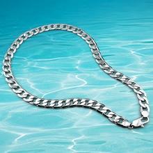 Hombres collar de cadena de plata, genuino sólido joyería de plata pura collar de cadena gruesa 12.5mm collar de plata de los hombres