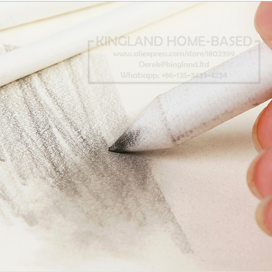 6Pcs White Sketch Pencil White Blending Smudge Stick Drawing Tortillon Pastel Sketch Pencil
