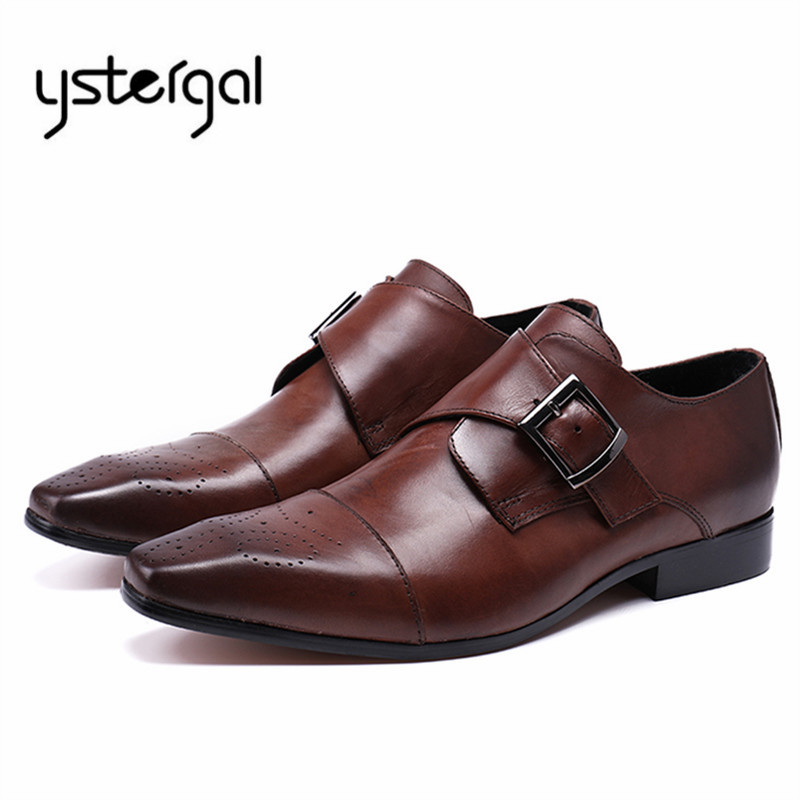 YSTERGAL Square Toe Men Genuine Leather Shoes Buckle Business Formal Oxford Shoes Zapatos Hombre Prom Wedding Shoes Mens Flats ystergal gold metal pointed toe men leather shoes lace up mens prom wedding shoe business formal dress flats oxford shoes