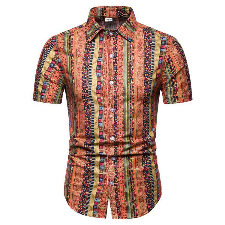 ab194134 Hawaiian Shirt Mens Clothing Floral Linen Shirts Men Flower Ethnic ...