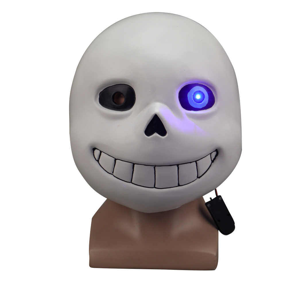 Game Undertale Masks Sans Mask Latex Led Light Full Head Adult Cosplay Mask Halloween Party Porp