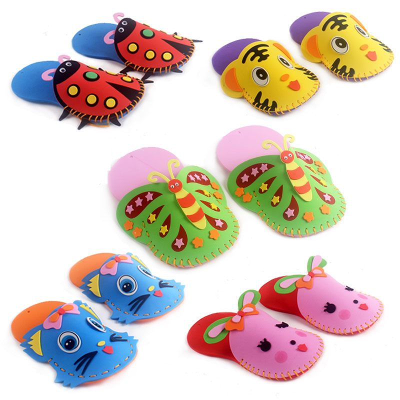 4 Pcs EVA Slippers New Arrival Kids DIY handmade Eva Foam Stickers Craft Puzzle Baby educational early learning toys