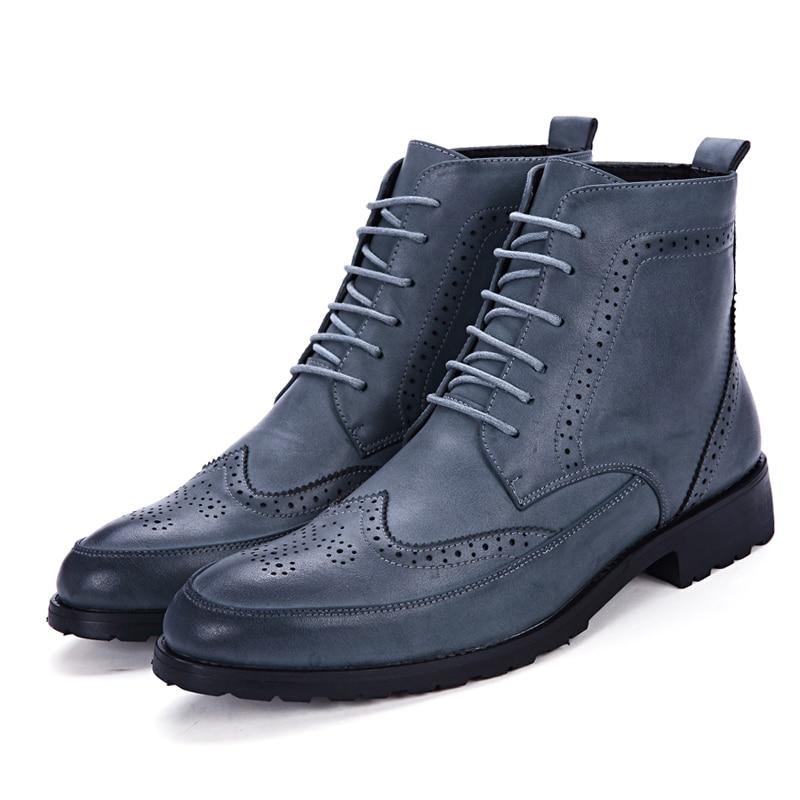 Up Style blue Cuir Rétro Hommes brown Cheville Chaussures Occasionnels Oxford Pu Nouveau Sculpté Richelieu Black Bottes Fleur En Misalwa Derby Britannique Dentelle Rpqw87SxCn