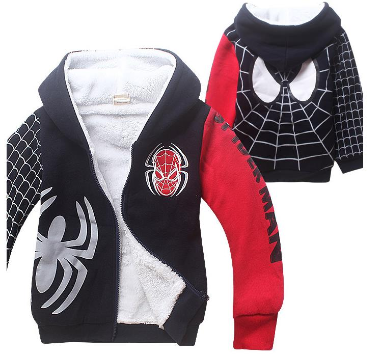 New 2016 Children s cartoon jacket baby kids Spiderman thick Hoodies sweatshirts Warm coat boys outerwear