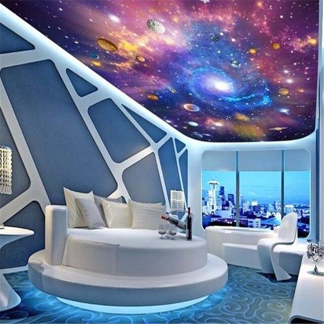 US $22.4 30% OFF D Decke Wandmalereien Raum Universum Tapeten 3D Stereo  Cartoon Wandbilder Kinderzimmer Sternenhimmel Planeten Papiere Clubs KTV  Bar ...
