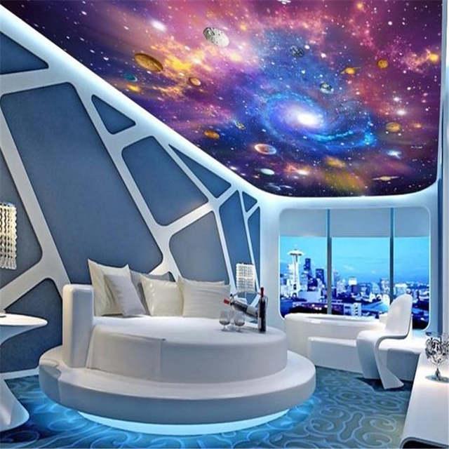 US $22.4 30% OFF|D Decke Wandmalereien Raum Universum Tapeten 3D Stereo  Cartoon Wandbilder Kinderzimmer Sternenhimmel Planeten Papiere Clubs KTV ...