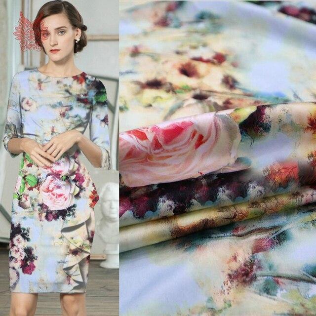 Luxury pink floral print light blue fake silk satin fabric for dress stretch faux silk tissue cloth tela tecido stoffen SP5518