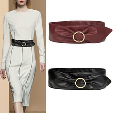 Sexy Women Belts black PU Leather cummerbunds gold alloy circle buckle HOT Wide Waistband dark red